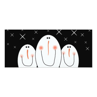3 Primitive Folk Art Snowmen Holiday Party 4x9.25 Paper Invitation Card