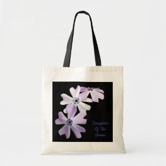 3 Purple Flowers DAUGHTER OF THE GROOM Budget Tote Bag