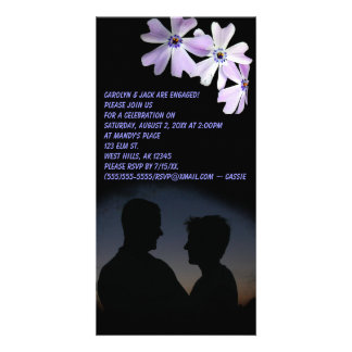 3 Purple Flowers Engagement Photo Invitation Photo Card Template