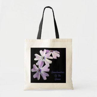 3 Purple Flowers GRANDMOTHER OF THE GROOM Budget Tote Bag