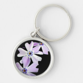 3 Purple Flowers Silver-Colored Round Key Ring