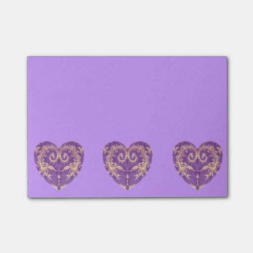 3 Purple N Gold Brocade Hearts Post It Notes Post-it® Notes