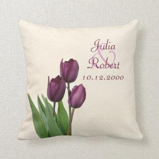3 Purple tulips cream anniversary Cushion