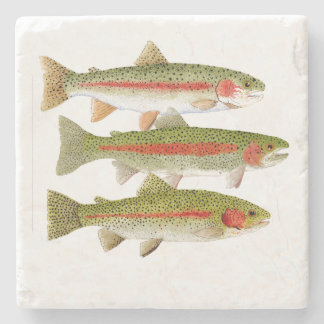 3 Rainbow Trout Stone Coaster