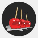 3 Red Candy Apples Round Sticker