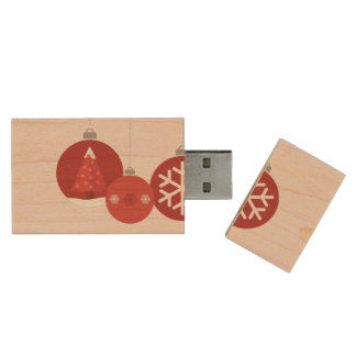 3 red Christmas baubles illustration Wood USB 2.0 Flash Drive