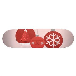 3 red Christmas baubles illustration Skate Board