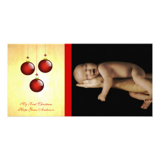 3 Red Ornaments Personalized Photo Card