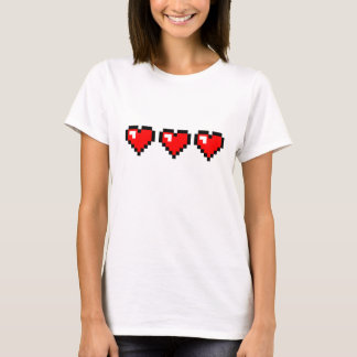 3 Red Pixel Hearts T-Shirt
