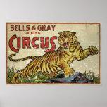 3 Ring Circus - circa 1930 distressed Poster