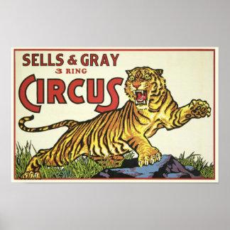 3 Ring Circus - circa 1930 Poster