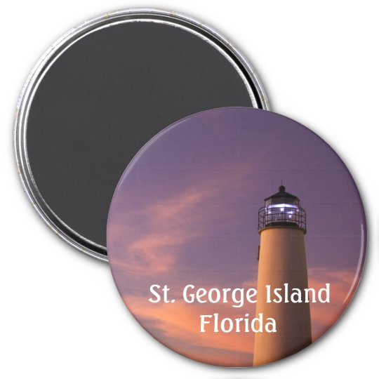 "3"" Round Magnet - Lighthouse (Purple Twilight)"