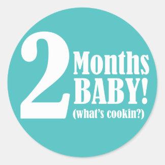 """3"""" Round STICKER - 2 Months Pregnant"""