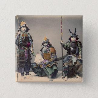 3 Samurai in Armor Vintage Photo 15 Cm Square Badge