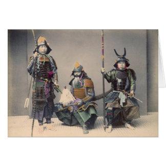 3 Samurai in Armor Vintage Photo Card