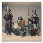 3 Samurai in Armour with Weapons Poster