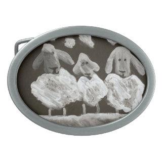 3 Sheep belt buckles
