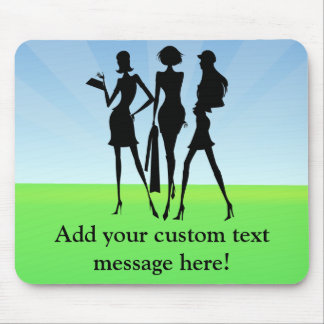 3 Shopping Women Friends Mouse Pad