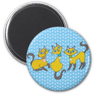 3 Siamese Cats on Blue with Paw Prints Refrigerator Magnet