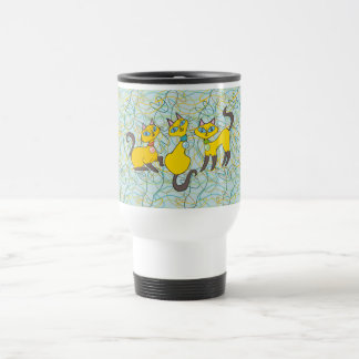 3 Siamese Cats with Retro Organic Shapes Travel Mug