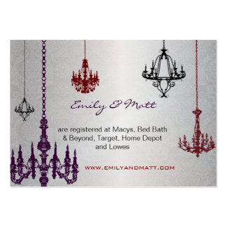 3 Silver Red & Black Chandeliers Damask Wedding Business Card Templates