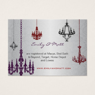 3 Silver Red & Black Chandeliers Damask Wedding Business Card