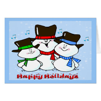 3 Singing Snowmen Greeting Card