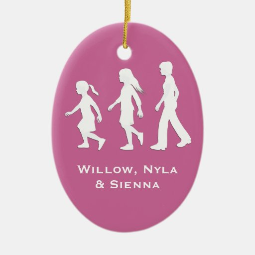 3 Sisters: Silhouettes of 3 Girls Christmas Tree Ornament