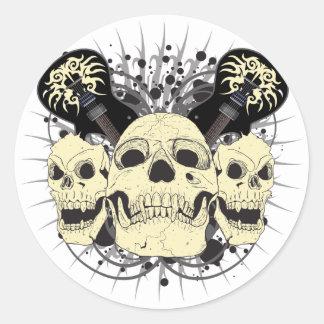 3 Skull Guitars Round Sticker