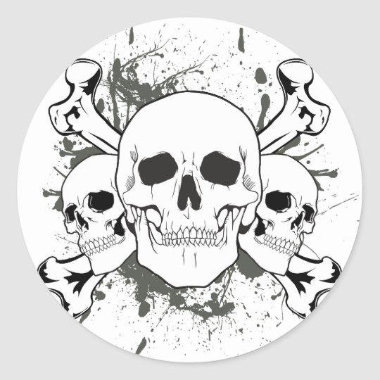 3 Skulls & Cross Bones Round Sticker