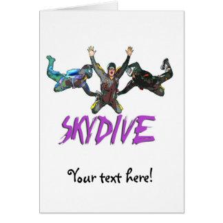 3 Skydivers - Purple Greeting Card
