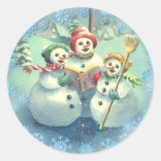 3 SNOWMEN & SNOWFLAKES by SHARON SHARPE Classic Round Sticker