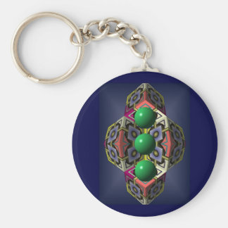 3 spheres basic round button key ring