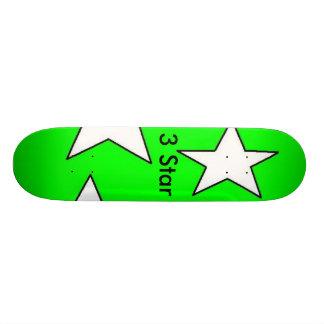 3 Star Designs Green Skatboard 18.1 Cm Old School Skateboard Deck