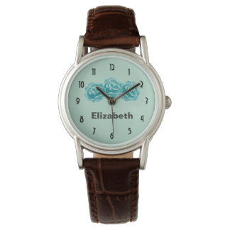 3 Teal Watercolor Roses on Mint Green Backdrop Watch