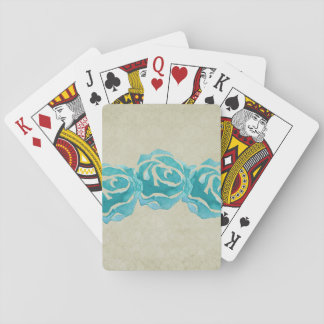 3 Teal Watercolor Roses on Tan Damask Pattern Playing Cards
