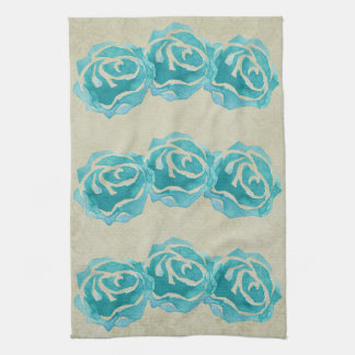 3 Teal Watercolor Roses on Tan Damask Pattern Tea Towel