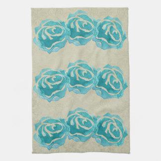 3 Teal Watercolor Roses on Tan Damask Pattern Tea Towels