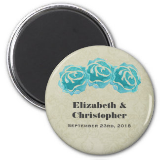 3 Teal Watercolor Roses on Tan Damask Wedding 6 Cm Round Magnet
