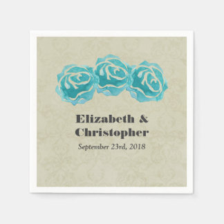 3 Teal Watercolor Roses on Tan Damask Wedding Disposable Serviettes
