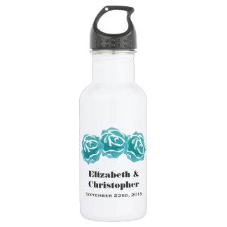 3 Teal Watercolor Roses Wedding 532 Ml Water Bottle