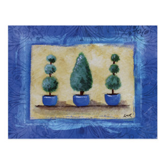 3 Topiary Trees with Blue Border Postcards