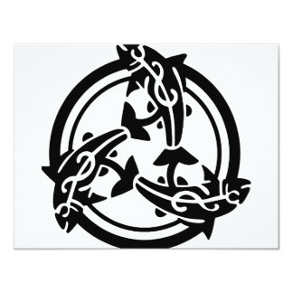3 Tribal Dolphins 11 Cm X 14 Cm Invitation Card