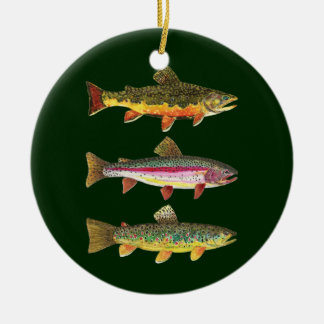 3 Trout for Fly Fishing Fishermen and Fisherwomen Round Ceramic Decoration