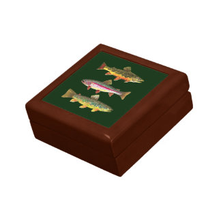 3 Trout for Fly Fishing Fishermen and Fisherwomen Small Square Gift Box