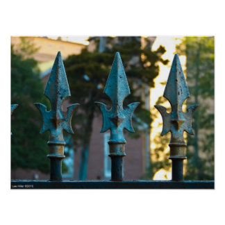 """3 Turquoise Spears"" Wrought Iron Fence Poster"