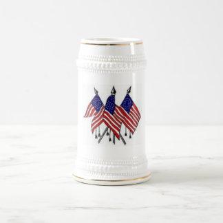 3 US Flags Beer Stein Beer Steins