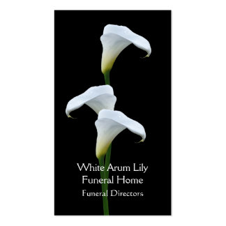 3 white arum lilies funeral directors pack of standard business cards