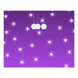 3 White Christmas Baubles on Purple Background. 11.5 Cm X 14 Cm Flyer