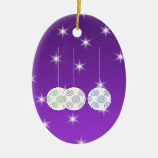 3 White Christmas Baubles on Purple Background. Christmas Ornament